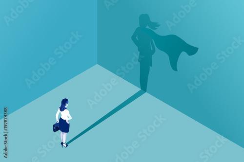 Businesswoman with superhero shadow vector concept Wallpaper Mural