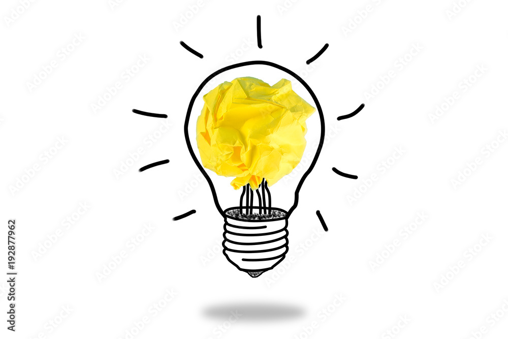 Fototapety, obrazy: Sketch of glowing light bulb, creative idea.Concept of idea and innovation with paper ball.