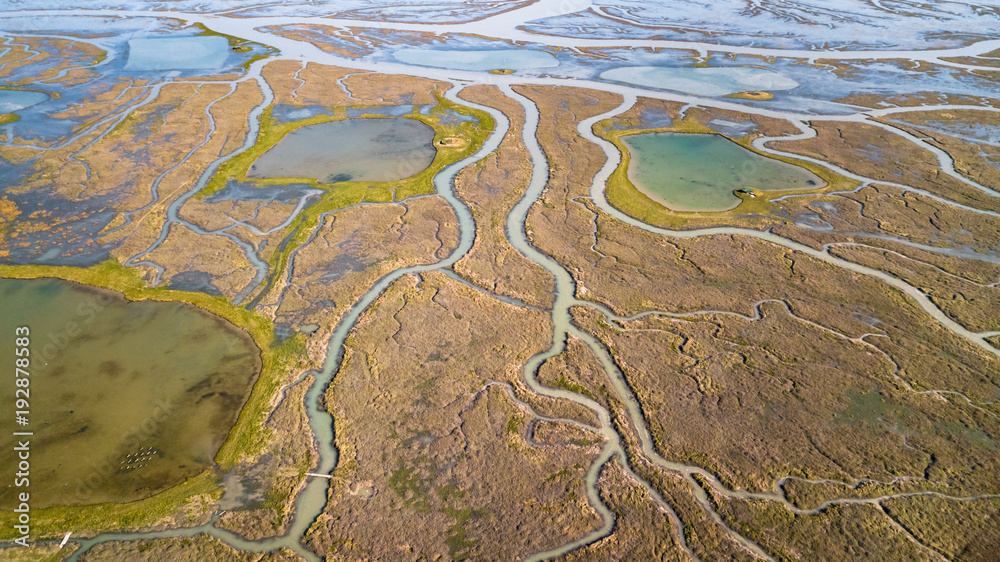 Fototapety, obrazy: Drone view of a spectacular delta where a river flows into the sea
