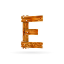 Letter E Logo. Rough Wooden Pl...