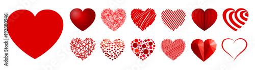 Set of thirteen hearts - stock vector