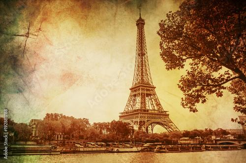 Eiffel Tower, vintage. Selective focus.  - 192881788