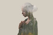 canvas print picture - Double exposure. Creative. Beautiful girl with a forest and trees inside the body. Gray background