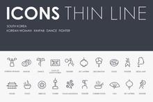 SOUTH KOREA Thin Line Icons