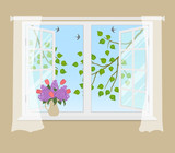 Open window with curtains on a beige background. Outside the window there are tree branches with green leaves. There is a bouquet of lilacs and tulips on the windowsill. Vector illustration