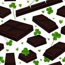 Seamless St. Patrick's Day Background With Clover Leaves And Chocolate Bars. Vector Illustration