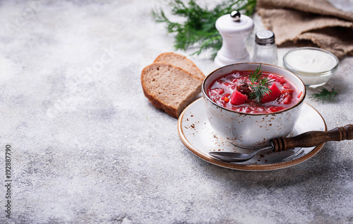 Obraz na plátně Traditional Ukrainian beetroot soup borsch