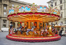 Old-style Carousel In Florence, Italy