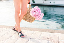 Girl With Straw Bag And Pink F...