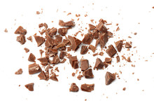 Cracked Chocolate Candies Sweets Isolated On White Background Top View