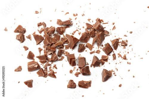 Fotografie, Obraz  cracked chocolate candies sweets isolated on white background top view