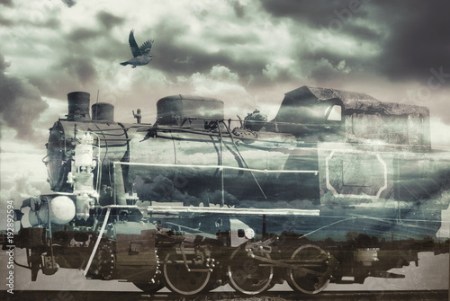 Collage in soft tones on the topic of Ancient trains Canvas Print