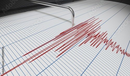 Fotografía Seismograph for earthquake detection or lie detector is drawing chart