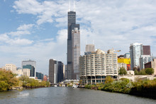 Skyline Of Chicago, Illinois, With Sears Tower (now Known As Willis Tower) In The Center