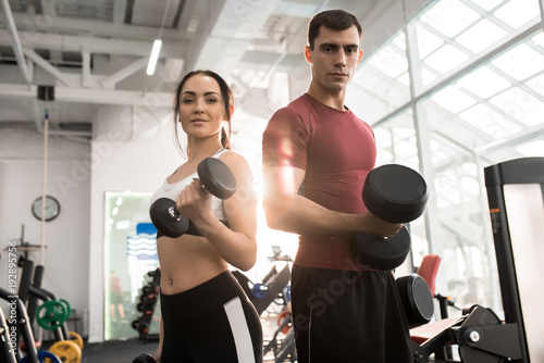 Fotografie, Obraz  Waist up portrait of fit sportive couple posing with dumbbells looking at camera