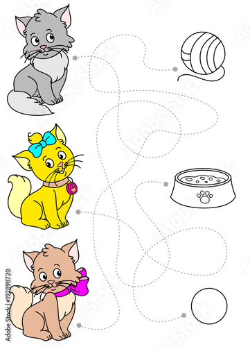 Funny cats coloring book vector - Buy this stock vector and explore ...