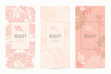 A Set Of Packaging Templates With Floral Texture For Luxury Products. Design Template Of Leaflet Cover, Flayer, Card For The Hotel, Beauty Salon, Spa, Restaurant, Club. Vector Illustration