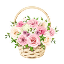 Vector Beige Basket With Pink And White Roses Isolated On A White Background.
