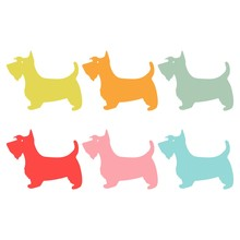 Six Colorful Silhouettes Of A Scottish Terrier