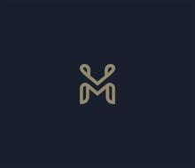 Luxury Letter M Logo Icon Elem...