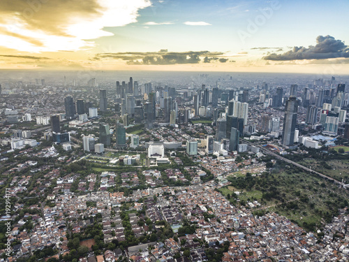 Downtown Jakarta, Indonesia, drone photography