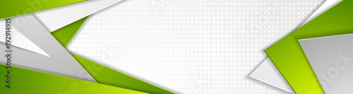 Abstract green and grey tech geometric banner design