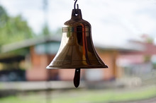 Brass Bell At Train Station In...
