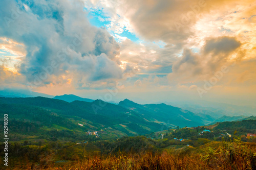 Tuinposter Groen blauw high mountains peaks range clouds in fog scenery landscape national park view outdoor at Chiang Rai, Chiang Mai Province, Thailand