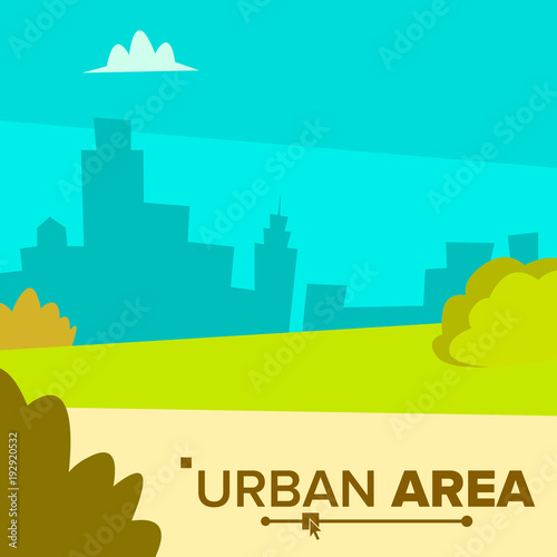Wall Murals Green coral Urban Area Vector. Modern City Town Landscape With Buildings. Flat Cartoon Illustration