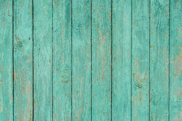 Light green texture background wooden old boards with peeling paint.