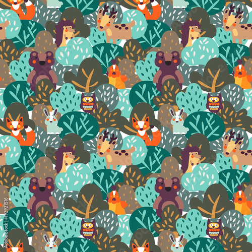 Funny Animal Seamless Pattern Made Of Wild Animals In Forest Bear