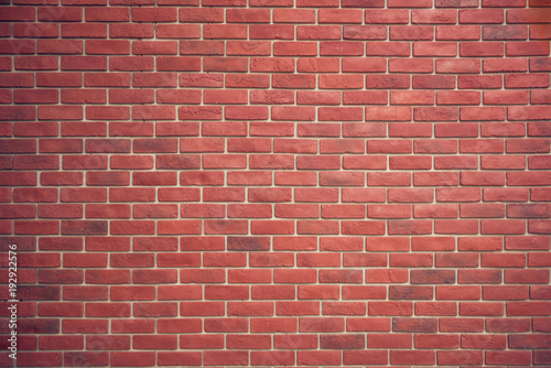 Red brown block brick wall Beautifully arranged texture background - 192922576