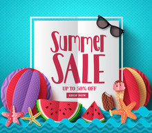 Summer Sale Vector Banner Template With White Space For Text And Colorful Paper Cut Beach Elements For Summer Seasonal Discount Promotion. Vector Illustration.