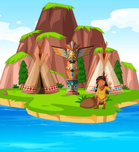 American Indian On Island