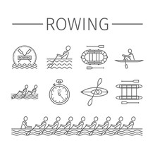 Rowing Team Line Icons. Sport ...