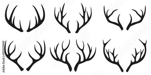Foto Deer antlers black icons set on white background