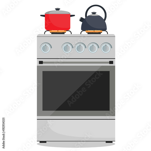 Modern gas stove, pot and kettle on it on flame Fototapeta