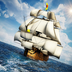 Obraz na Szkle Vintage sailing ship at the sea under clear sky. 3D illustration