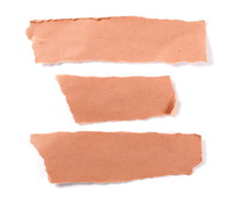 Orange Paper Scraps, Set And Collection, Isolated On White Background, Top View