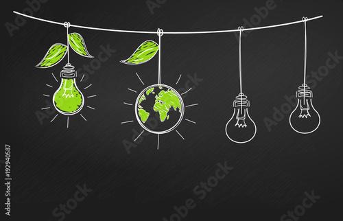 Valokuva  ampoule ardoise écologie illustration