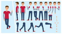 Young Man, Boy, Student Creation Set With Choice Of Poses, Gestures, Emotions, Flat Cartoon Vector Illustration. Animation Ready Creation Set Of Young Man Portrait With Changeable Face, Legs, Arms