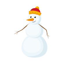 Cute, Funny Snowman With Carro...