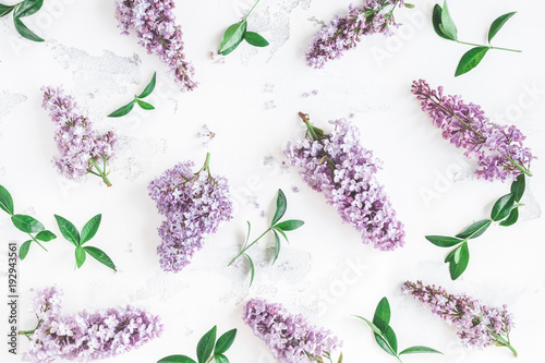 Foto op Canvas Lilac Flowers composition. Lilac flowers, green leaves on white background. Flat lay, top view