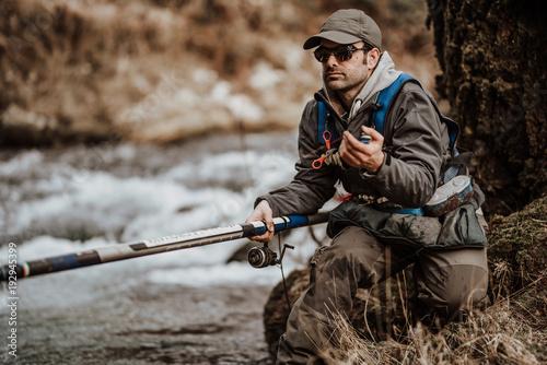 Poster Peche Fishing trout stream creek