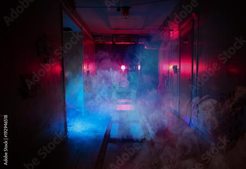 Türaufkleber Rauch dark room fear quest light effects smoke