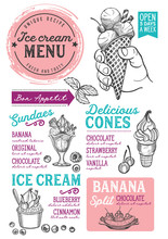 Ice Cream Restaurant Menu. Vec...