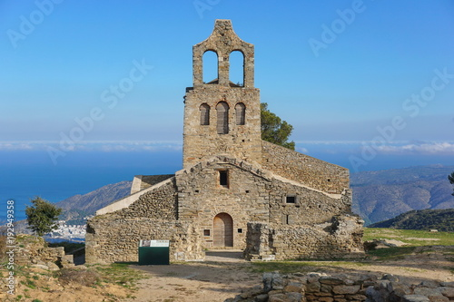 Spain the church Santa Helena, overhanging the Mediterranean sea, Verdera mountain, Alt Emporda, El Port de la Selva, Catalonia, Costa Brava