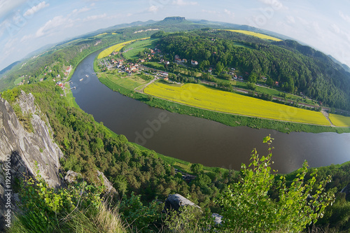 Foto op Canvas Guilin Panoramic view to Saxon Switzerland from Bastei in Rathen, Germany.