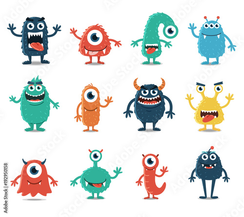 Fotografiet Set of Monsters Isolated on White Background