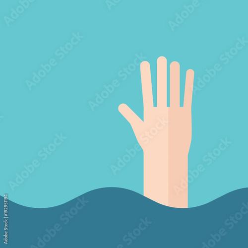 Hand of drowning man Fototapeta